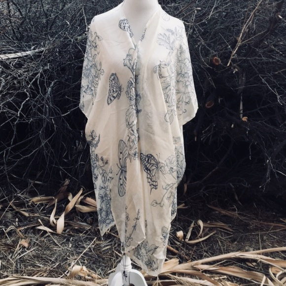 761702f773eb4 jc sunny Intimates & Sleepwear | Nwt Silk Kimono Duster Robe Beach ...